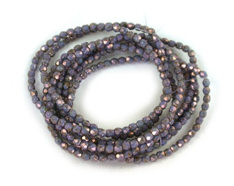 Smoky Purple opaque w/ Bronze luster 4mm firepolished rounds. Set of 50, 100 or 200.