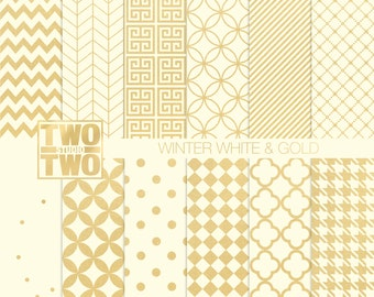 Winter White and Gold Digital Paper with Confetti, Striped, Quatrefoil, and Herringbone Patterns for Christmas and New Years Backgrounds