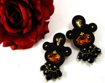 Handmade earrings, gold and orange-black Soutache