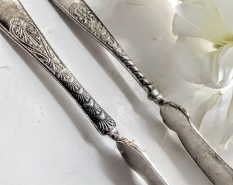 Butter Knife, Antique Silver Butter Knife ,Antique Silverware  Butter Server,Antique Silver Cutlery,Formal Tableware,Cottage Chic Silverware