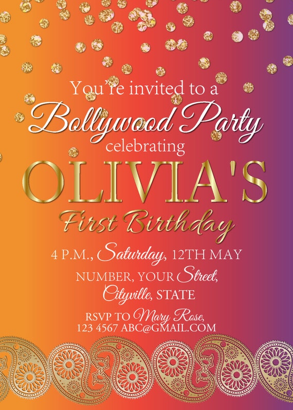 Bollywood birthday party invite indian wedding invitation – Bollywood Birthday Card