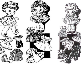 Vintage 3 Jointed Cloth Doll Patterns - Doll Clothes Patterns - Vintage 1943 Sewing Patterns - Rag Doll Patterns - Digital Download