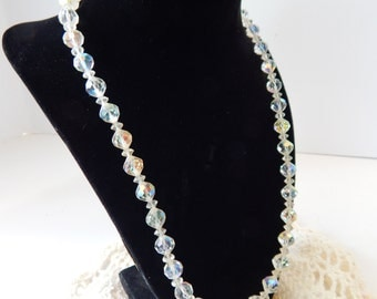 1950s Crystal Glass Necklace, Aurora Borealis Necklace, Adjustable, Faceted Glass Crystal Beads, Gorgeous Prism effect, Mid Century Jewelry