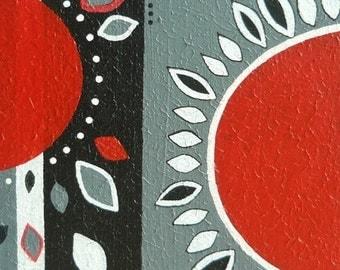 deco modern acrylic on canvas red black grey white