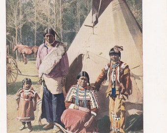 "Wonderful North American Indians ""The Wigwam"" Rich Color 10"" X 6.5"""
