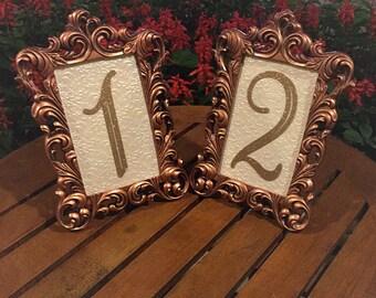 Table number frames 4 x 6 vintage gold wedding frames ornate baroque style