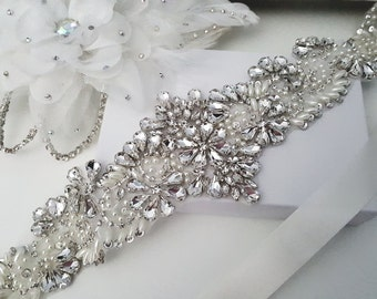 Beaded bridal sash crystal wedding belt sash, Style 177