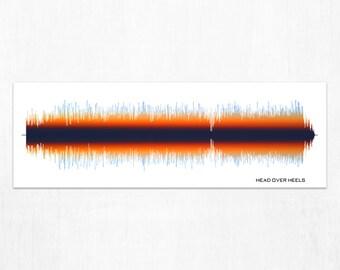 Head Over Heels  - Print, Framed Print, or Canvas - Music/Song Audio Wave Art Print - Gift Idea