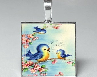 Cute Fenton style bluebirds birds glass tile pendant jewelry