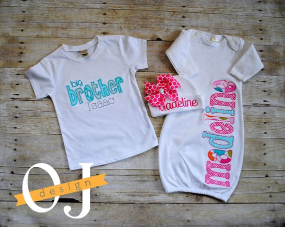 Baby Gifts For Big Brother : Big brother little sister personalized baby boy newborn gift