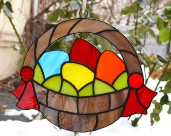 Easter Basket Decor, Stained Glass Easter Ornament, Easter Egg Basket, Spring Window Decoration, Wall Art Decor, Suncatcher, Easter Gift