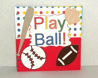 Scrapbook Album-Baseball Album,Sports, Handmade Scrapbook Pages, Scrapbooking, Scrapbook, Premade Pages, Die Cut Premade Pages