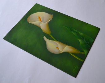 Original 9x12' white calla lily painting, small still life painting, floral painting, floral artwork, kitchen art, flower painting, flowers