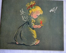 Vintage Christmas Card - Hi Angel with Candle - Used