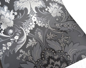 Wallpaper - Cole and Son  Sample Sheet  - 19 x 17  Albemarle Aldwych - Metallic Silver and Grey