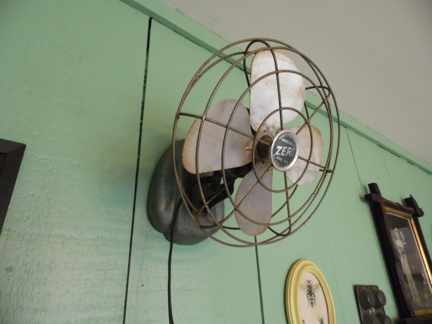 Outdoor Table Top Fan : Vintage zero fan wall mount or table top small green