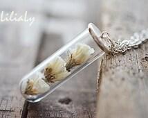 Real flower necklace Dried flower jewelry Terrarium bottle necklace Nature pendant