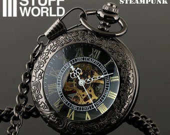 Retro SteamPunk BLACK Pocketwatch - Skeleton Mechanical - Vintage watch *** includes pouch ***
