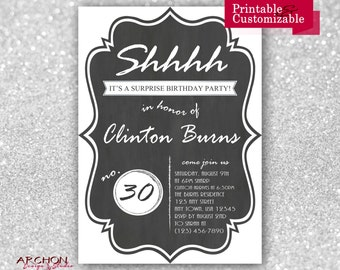 Surprise Birthday Party Invitations - Chalkboard Design - Printable & Personalized - A-00011