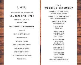 wedding ceremony program