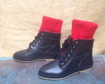 80s Rain Boots Womens 8 US // Red Sock Cuff Lace Up Black Rubber Boots Vintage Hipster Sock Boots