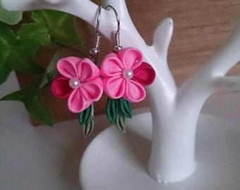 Pink Flower Earrings 8-3