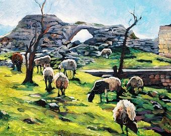 Galilee gorgeous colors  Landscape/Sheep 8x10inch Print/Israel/Animal Print/Landscape Art/Fine Art Prints/Giclee print