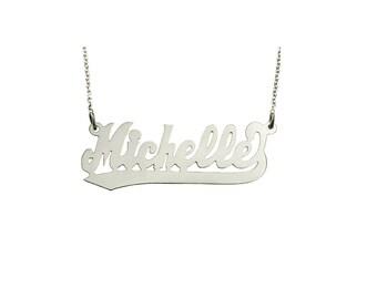 "14wLee322H3  - 14K White Gold 1.75"" Script LetterTail Name Necklace"