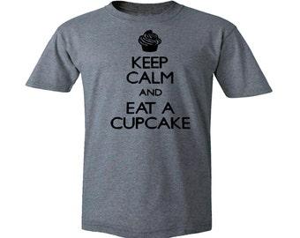 Keep calm and eat a cupcake gray silk printed t-shirt