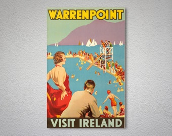 Warrenpoint Visit Ireland Travel Poster, 1935 - Art Print - Poster Print, Sticker or Canvas Print / Gift Idea