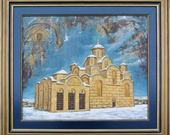 Oil in canvas, Monastery Gracanica, Original canvas painting