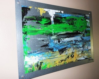Abstract painting on sheet metal