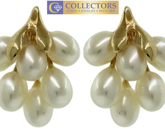 Ladies 14K 585 Yellow Gold Baroque Pearl Grape Cluster Butterfly Earrings