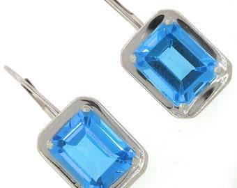 Chic Ladies 14K White Gold Emerald Cut Blue Topaz Aquamarine Stone Drop Earrings
