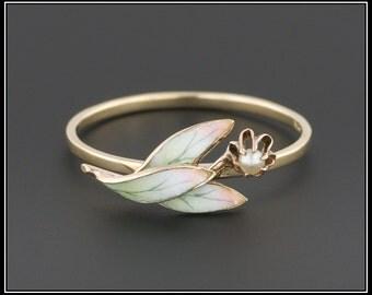 14k Gold Enamel Flower Ring   14k Gold Ring   Antique Stick Pin Ring   Stacking Ring   Enamel Ring