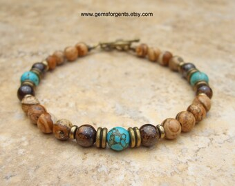 Turquoise Blue Magnesite, Brown Picture Jasper, and Brown Bronzite, Mens Beaded Bracelet, Mens Jewelry – B36