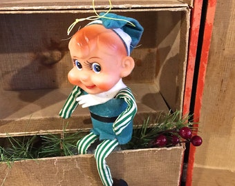 Vintage Elf Pixie, Shelf Sitter Ornament,  Green and White Stripe, Chubby Cheeks, 4 inches sitting, Made in Japan Label, Mid Century