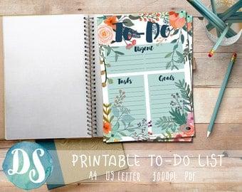 Printable To Do List - Floral Design - PDF, A4,Letter, Tasks, Goals