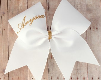 Cheer bows with names, add your name to a bow, personalized cheer bow, white and gold, cheer team bows, Bows for nationals