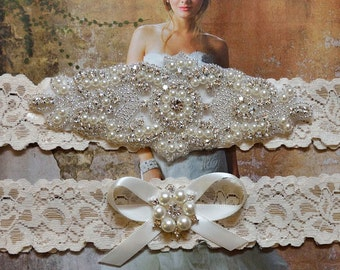 Wedding Garter, Wedding Garter Set, Bridal Garter Set, Pearl Garter, Jeweled Garter, White / Ivory Stretch Lace Garter, Violet Style 10355