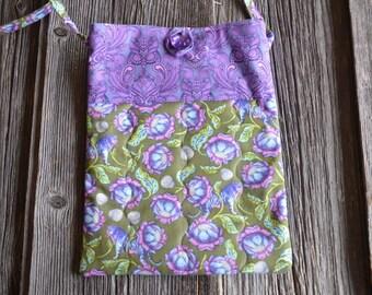 Floral Print Quilted Cross Body Bag, iPad Bag, Hipster Bag, Messenger Bag, Tablet Bag, Purse