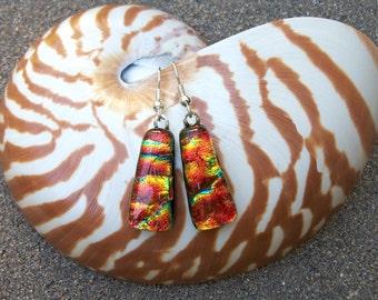 Red orange dichroic glass dangle earrings