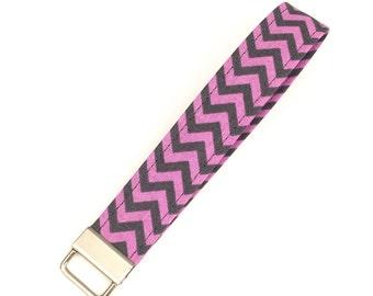 Purple and gray chevron key fob / keychain