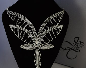 Butterfly Bobbin Lace Necklace in White with Black Details