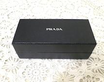 "Prada sunglasses box, small box, signature box, storage, regift, lizard finish, 6 1/2"" x 3"" x 2 1/2"", black silver,  716/550"