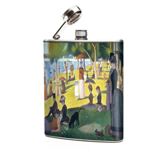 Seurat SUNDAY Iin the PARK art print on 6oz Stainless Steel Graphic Hip Flask