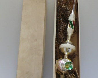 Czech Bohemian Glass Silver Christmas Tree Top