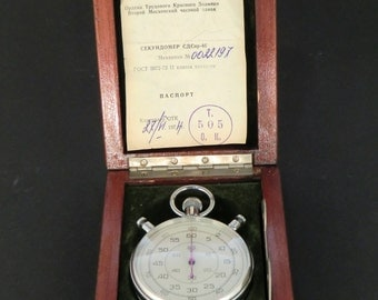 Vintage Soviet Russian Chronometer  Stopwatch with original retail Box - working