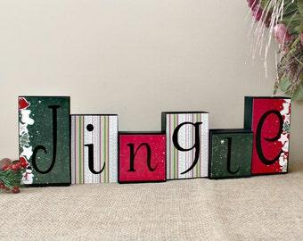 Jingle Wood Blocks Set, Christmas Blocks, Christmas Decor, Jingle Decor, Jingle Home Decor, Holiday Wood Decor, Reversible Blocks Option