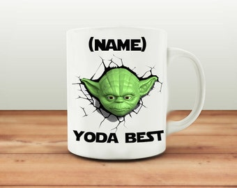 Personalized mug, Coffee cup, mug, Yoda coffee cup. Personalize the mug with a name 11oz ceramic coffee cup, Yoda inspired